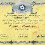 Taşımacılık sektöründe 2.cilik Gümüş madalya ile ödüllendirildik.